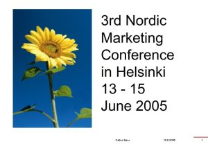 Petteri Baer 15 6 2005 1 Summarising the