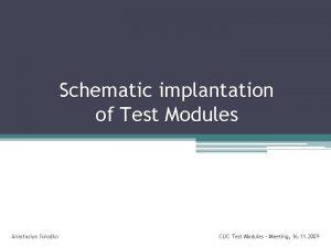 Schematic implantation of Test Modules Anastasiya Solodko CLIC