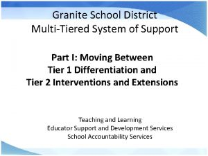 Granite School District MultiTiered System of Support Part