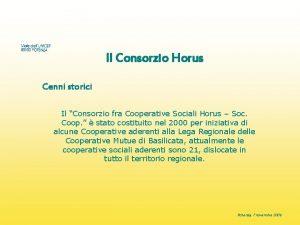 Il Consorzio Horus Cenni storici Il Consorzio fra
