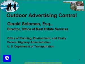 Outdoor Advertising Control Gerald Solomon Esq Director Office