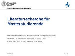 Soziologisches Institut Bibliothek Literaturrecherche fr Masterstudierende Britta Biedermann