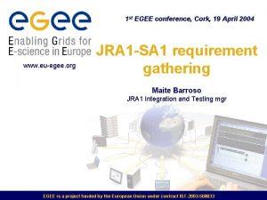 1 st EGEE conference Cork 19 April 2004