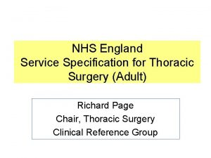 NHS England Service Specification for Thoracic Surgery Adult