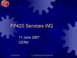 FP 420 Services WG 11 June 2007 CERN