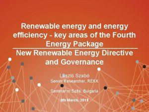 Renewable energy and energy efficiency key areas of