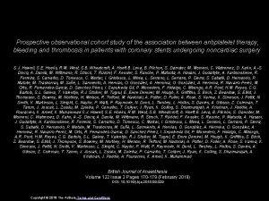 Prospective observational cohort study of the association between