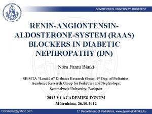 RENINANGIONTENSINALDOSTERONESYSTEM RAAS BLOCKERS IN DIABETIC NEPHROPATHY DN Nra
