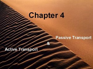 Chapter 4 Passive Transport Active Transport Cell Membrane