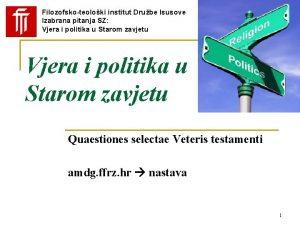 Filozofskoteoloki institut Drube Isusove Izabrana pitanja SZ Vjera