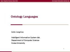 Dept Computer Science Korea Univ Intelligent Information System