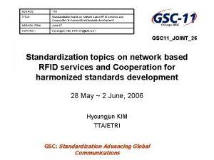 SOURCE TTA TITLE Standardization topics on network based
