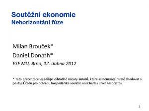 Soutn ekonomie Nehorizontn fze Milan Brouek Daniel Donath