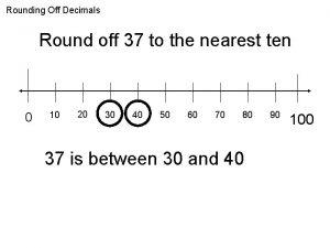 Rounding Off Decimals Round off 37 to the