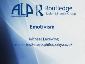 Emotivism Michael Lacewing enquiriesalevelphilosophy co uk Cognitivism v