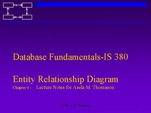 Database FundamentalsIS 380 Entity Relationship Diagram Chapter 4
