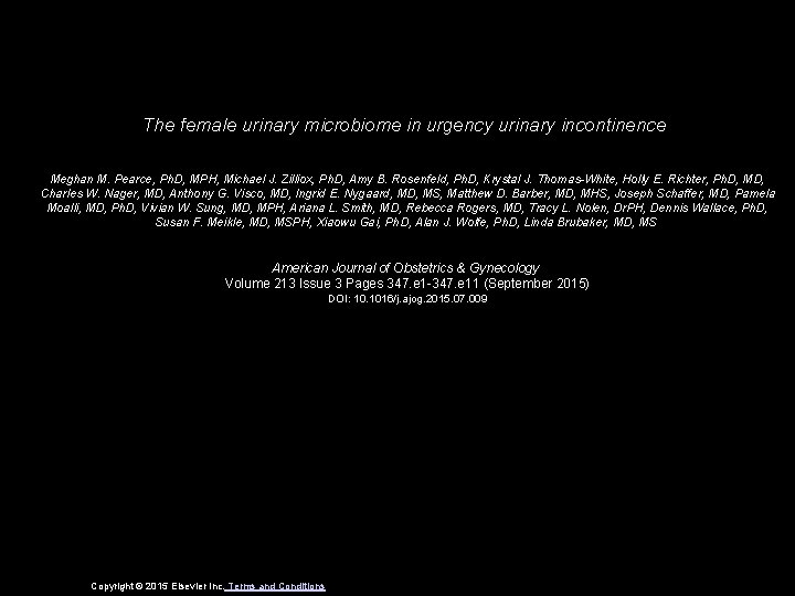 The female urinary microbiome in urgency urinary incontinence