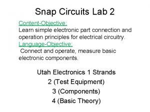 Snap Circuits Lab 2 ContentObjective Learn simple electronic