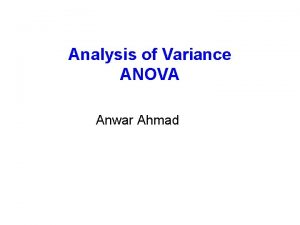 Analysis of Variance ANOVA Anwar Ahmad ANOVA Samples
