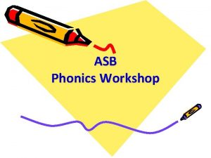 ASB Phonics Workshop Aims To share how phonics