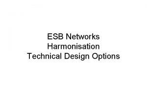 ESB Networks Harmonisation Technical Design Options Background Retail