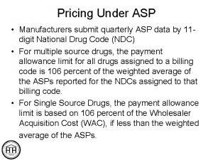 Pricing Under ASP Manufacturers submit quarterly ASP data