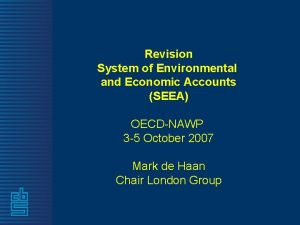 Revision System of Environmental and Economic Accounts SEEA