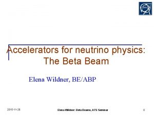 Accelerators for neutrino physics The Beta Beam Elena