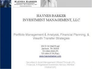 HAYNES BARKER INVESTMENT MANAGEMENT LLC Portfolio Management Analysis