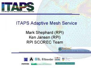 ITAPS Adaptive Mesh Service Mark Shephard RPI Ken