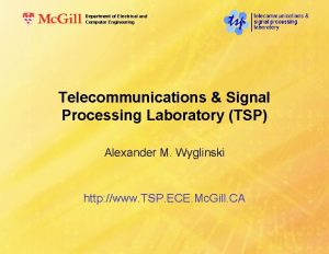 Department of Electrical and Computer Engineering Telecommunications Signal