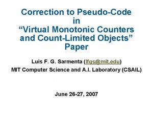 Correction to PseudoCode in Virtual Monotonic Counters and