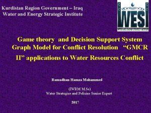 Kurdistan Region Government Iraq Water and Energy Strategic