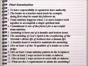 Final Examination 1 To have responsibility is equated