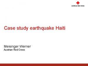 Case study earthquake Haiti Meisinger Werner Austrian Red