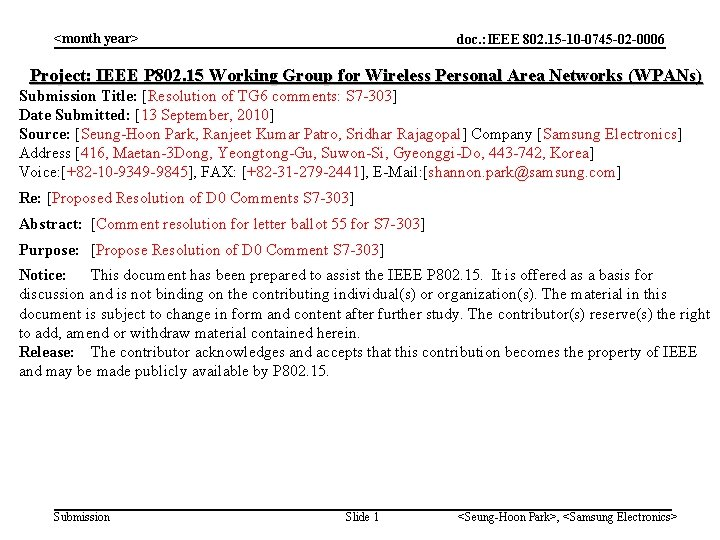 month year doc IEEE 802 15 10 0745
