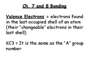 Ch 7 and 8 Bonding Valence Electrons electrons