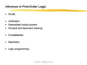 Inference in FirstOrder Logic Proofs Unification Generalized modus