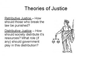 Theories of Justice Retributive Justice How should those