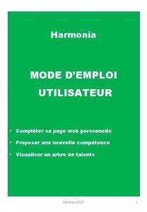 Harmonia MODE DEMPLOI UTILISATEUR Complter sa page web