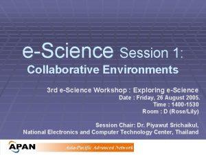 eScience Session 1 Collaborative Environments 3 rd eScience
