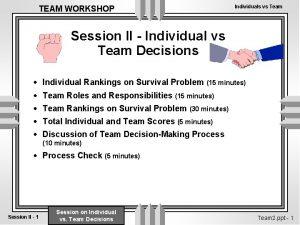 TEAM WORKSHOP Individuals vs Team Session II Individual