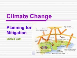 Climate Change Planning for Mitigation Shahid Lutfi Climate