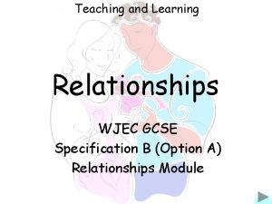 Teaching and Learning Relationships WJEC GCSE Specification B