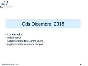 Cds Dicembre 2018 Comunicazioni Notizie locali Aggiornamenti dalle
