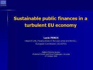 DG ECFIN Sustainable public finances in a turbulent