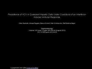 Persistence of HCV in Quiescent Hepatic Cells Under