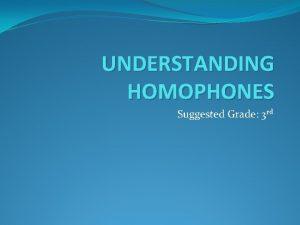 UNDERSTANDING HOMOPHONES Suggested Grade 3 rd OBJECTIVES Students