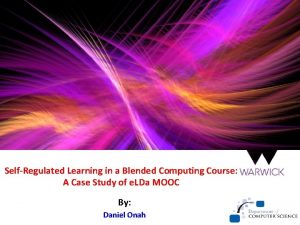 SelfRegulated Learning in a Blended Computing Course A