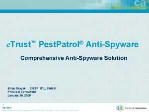 e Trust Pest Patrol AntiSpyware Comprehensive AntiSpyware Solution